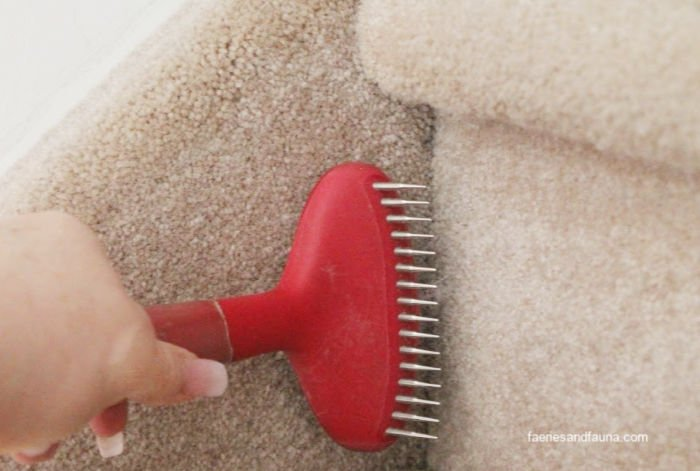 Cleaning hard to reach area of carpet using a dog brush. Works well for pulling dog hair out of carpet.