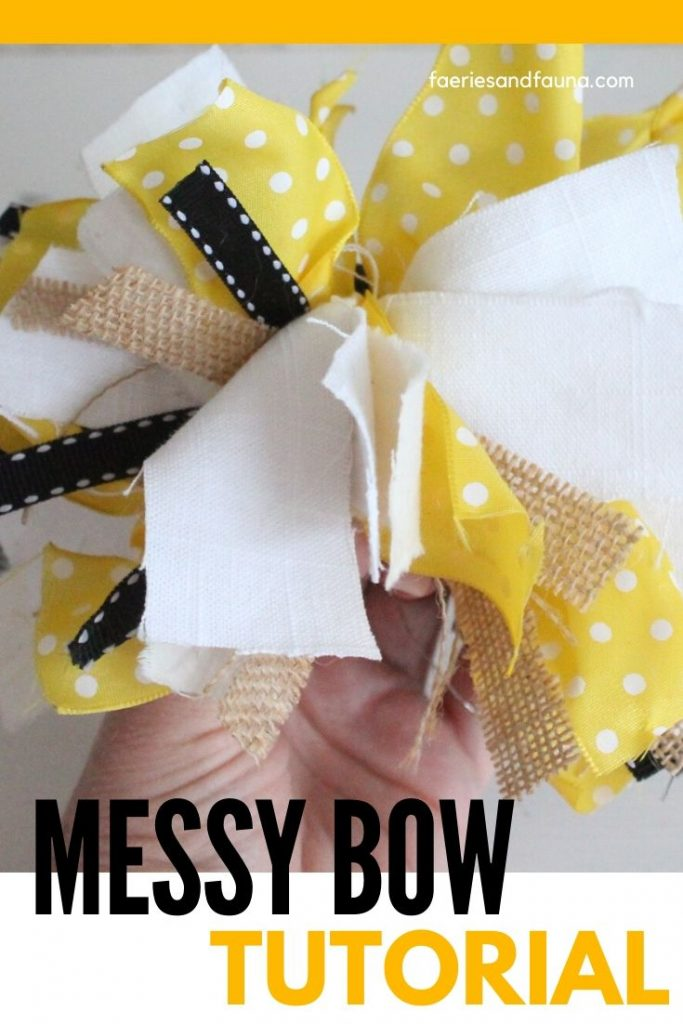 How to tie a messy bow using leftover fabric and ribbon.