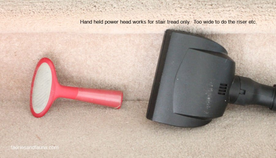A photo that illustrates the difficulty of removing dog hair from carpeted stairs.