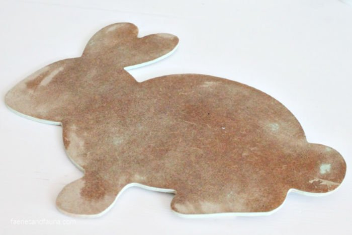 A sanded dollar store Easter bunny , Easter craft idea.