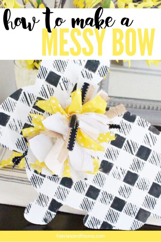 An easy to make rag ribbon tutorial. How to make a messy bow that uses leftover fabric, ribbon and even twine.