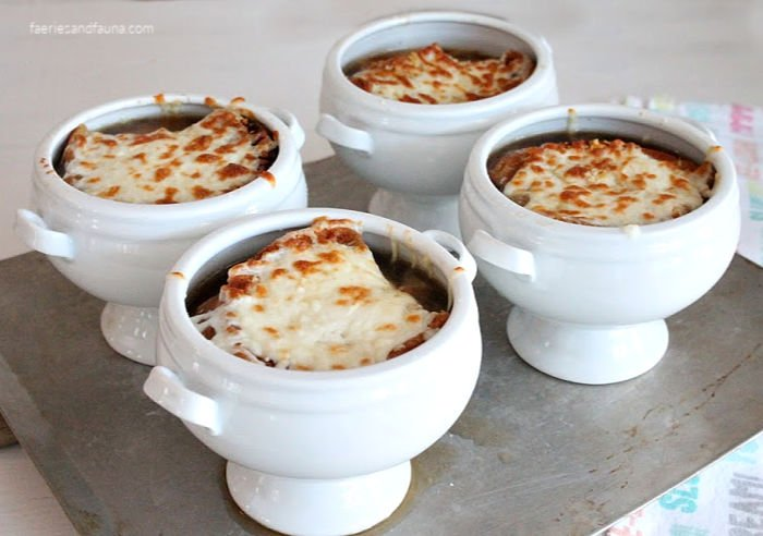 French onion soup that has been broiled so the cheese melts.