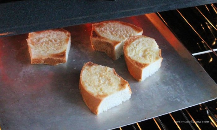 Toasted french bread for making french onion soup.