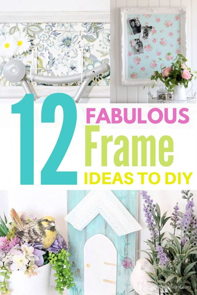 Three images showing pretty picture frame upcycling craft ideas, a bird house wall art for outdoor, an ironing board hanger with a framed background, and a DIY bulletin board.