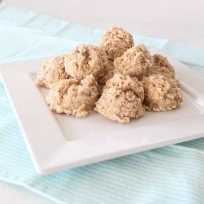 A sheet of peanut butter and coconut no bake cookies