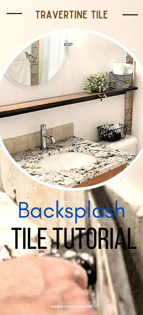 Two images the background image shows tile being grouted in the bathroom. The second picture shows a finish farmhouse bathroom with natural stone tiles, a long wood shelf, farmhouse flowers and a round mirror.