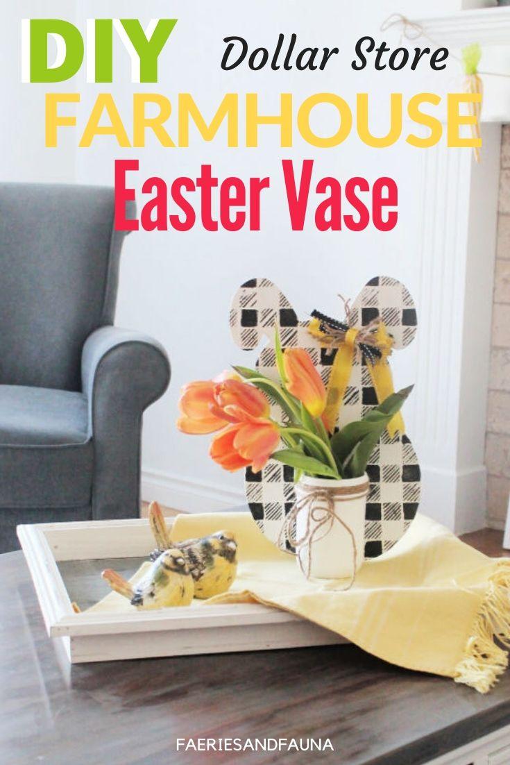 DIY Easter Centerpiece with Buffalo Check Easter Bunny, mason jar vase and tulips.