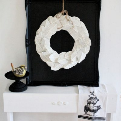Book Page Wreath Craft with DIY All Black Chalkboard