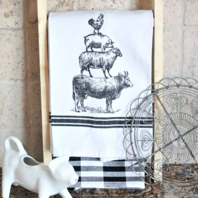 DIY Farmhouse Tea Towel Ladder for the Kitchen