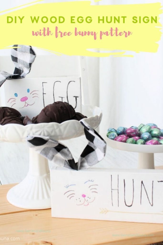 Scrap Wood Sign Shelf Sitters with Easter Bunny Ears and Easter Hunt
