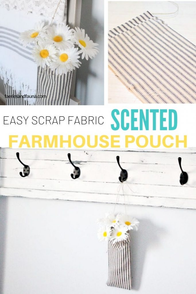 Easy farmhouse decor using ticking fabric, essential oils, and flowers.