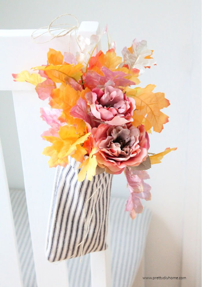 No sew farmhouse craft idea with Fall leaves and flowers