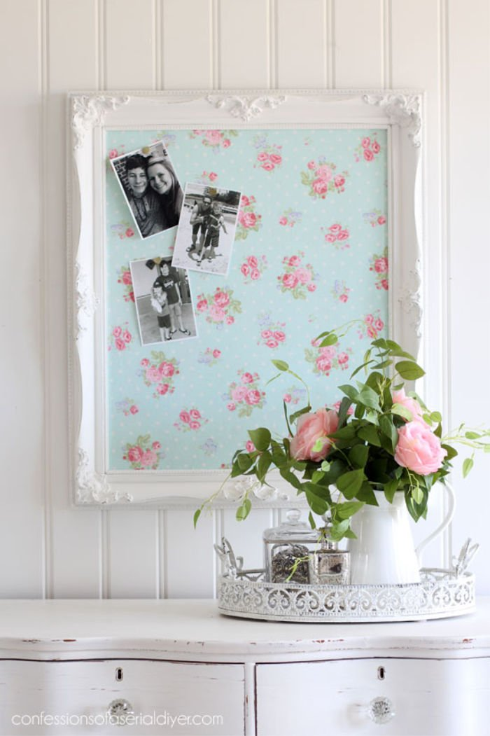 Pretty upcycled picture frame bulletin board idea.