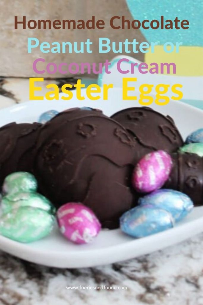A tray of homemade chocolate Easter eggs made with Belgian Chocolate