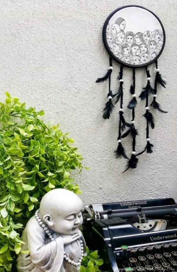 Black and White Paper Napkin Dream Catcher