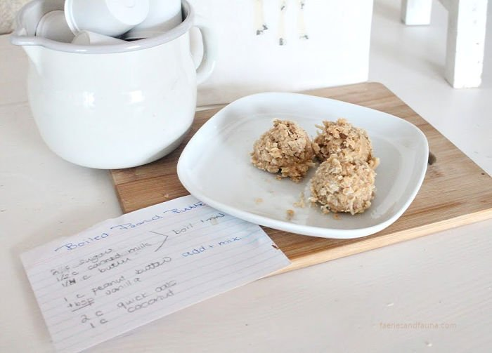 Old fashioned recipe for no bake cookies that has peanut butter, coconut and oatmeal
