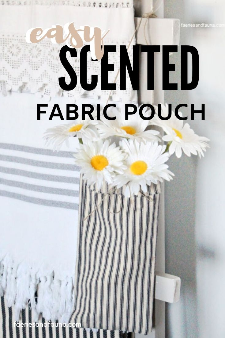 No Sew Fabric Pouch with essential oils and flowers.