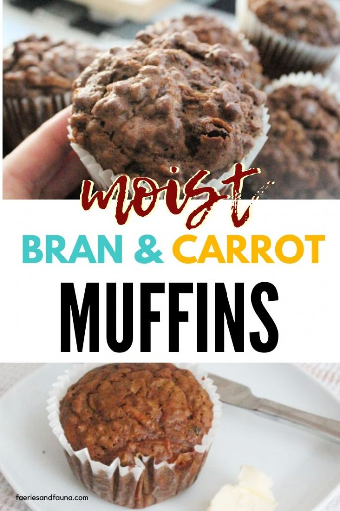 A large moist bran muffin recipe with carrots. Served with butter on a white plate.
