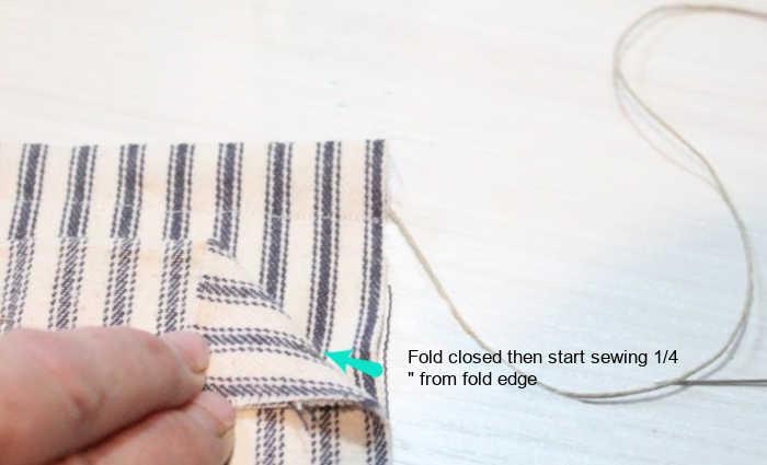 Showing seam location on a DIY fabric bag tutorial