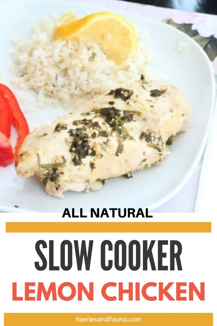 Slow cooker lemon chicken with parsley, and cauliflower rice.