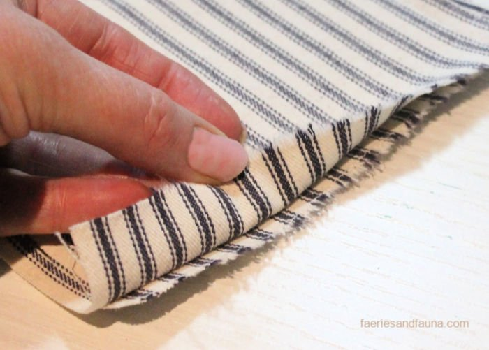 trimming seam on fabric pouch
