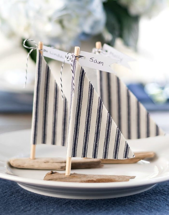 DIY Drift wood sail boats for a tablescape.
