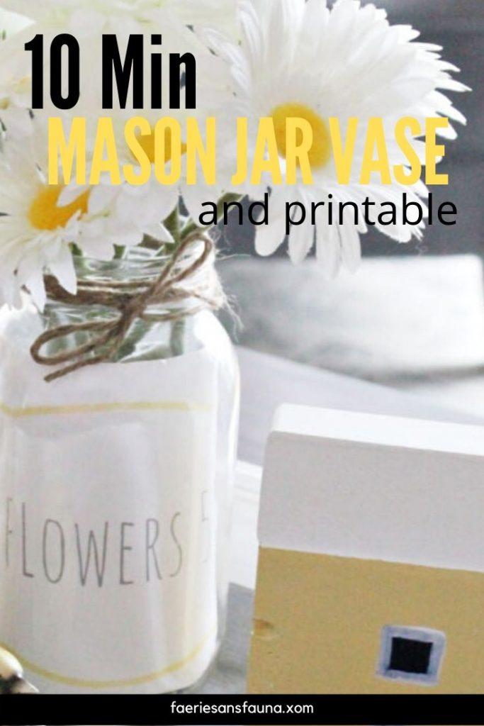 Free printable Label upcycles this mason jar vase craft idea.
