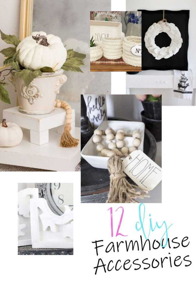 Various kinds of Farmhouse DIY accessories for the home, including corbels, table risers and wall art.