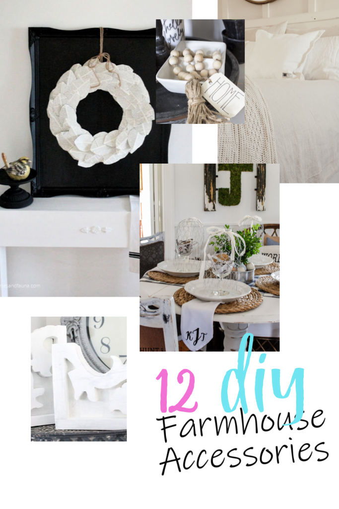 A collection of various DIY farmhouse accessories with tutorials including wall art, and corbels.