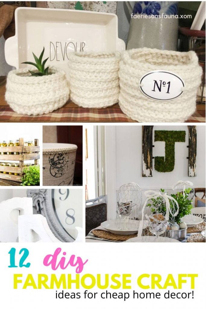 My favorite farmhouse accessories that can be handmade, including crochet baskets, table cloches, waste paper basket, and wood bead sets.