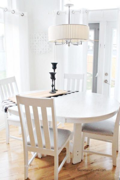 A white farmhouse table and chair makeover tutorial.