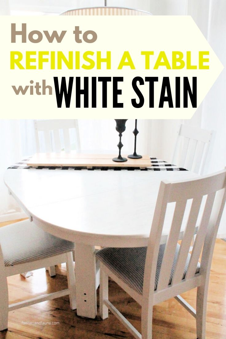 A step by step tutorial showing how to makeover an old table into a white farmhouse style table and chairs.