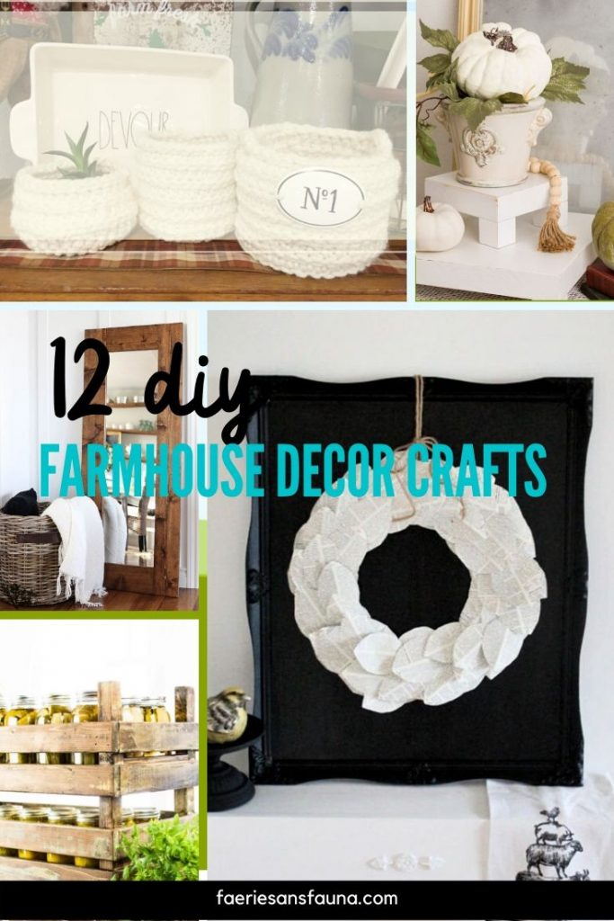 A collection of different DIY farmhouse style accessories including wall art, tiered trays, and farmhouse linens.