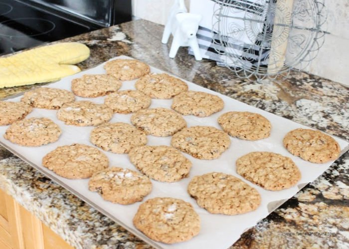 Fresh baked homemade oatmeal raisin cookies from scratch.
