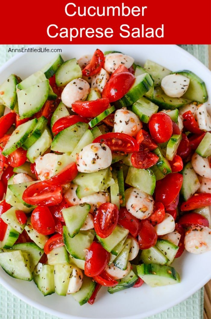 A homemade caprice salad with cucumbers and tomatoes
