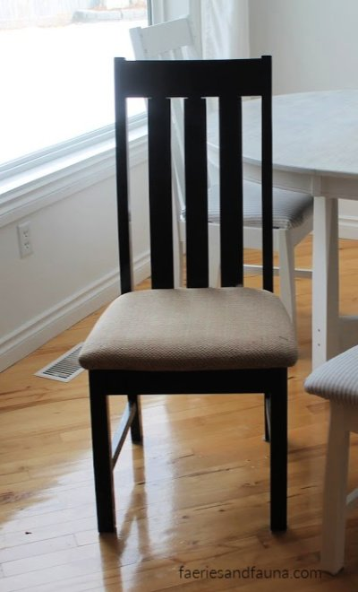 How to Refinish a chair, the before picture. A wood chair with scratches and wear