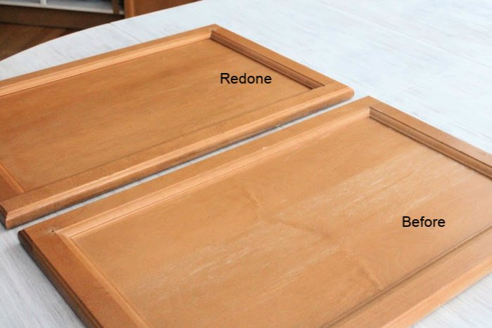 How to re-stain wood kitchen cupboards using stain.