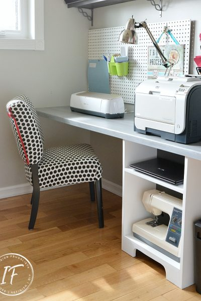 DIY Floating Desk and Storage Wall