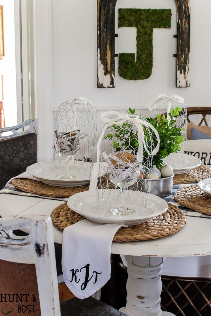 DIY chicken wire cloche DIY farmhouse accessory table setting.