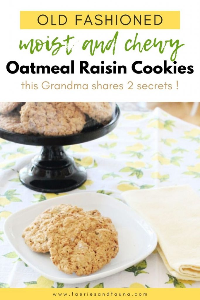 A tray full of the best moist and chewy oatmeal raisin cookies along with a plate showing two oatmeal raisin cookies and a pretty yellow napkin.