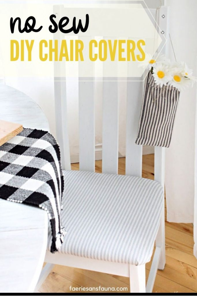 No sew chair cover tutorial for a chair makeover.