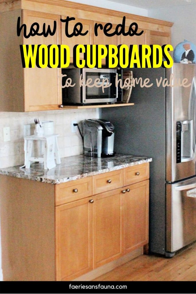 Refinished in Stain DIY Kitchen Cupboard makeover.
