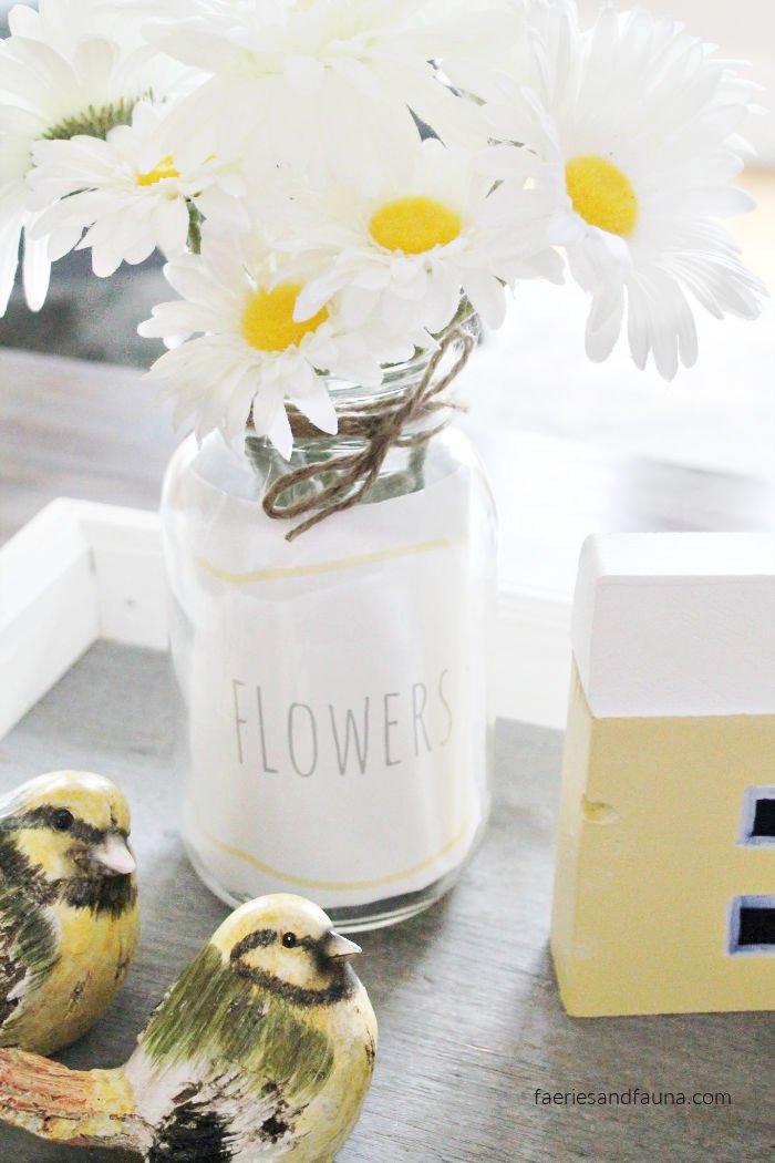 A mason jar flower arrangement craft idea.