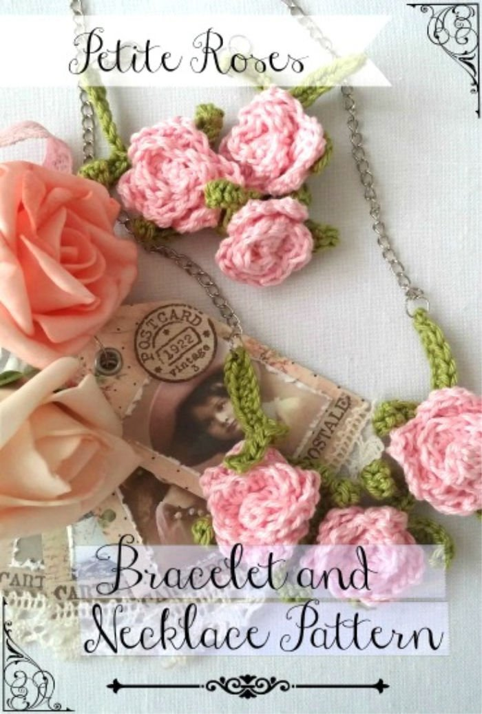 Crocheted Rose Necklace and Bracelet