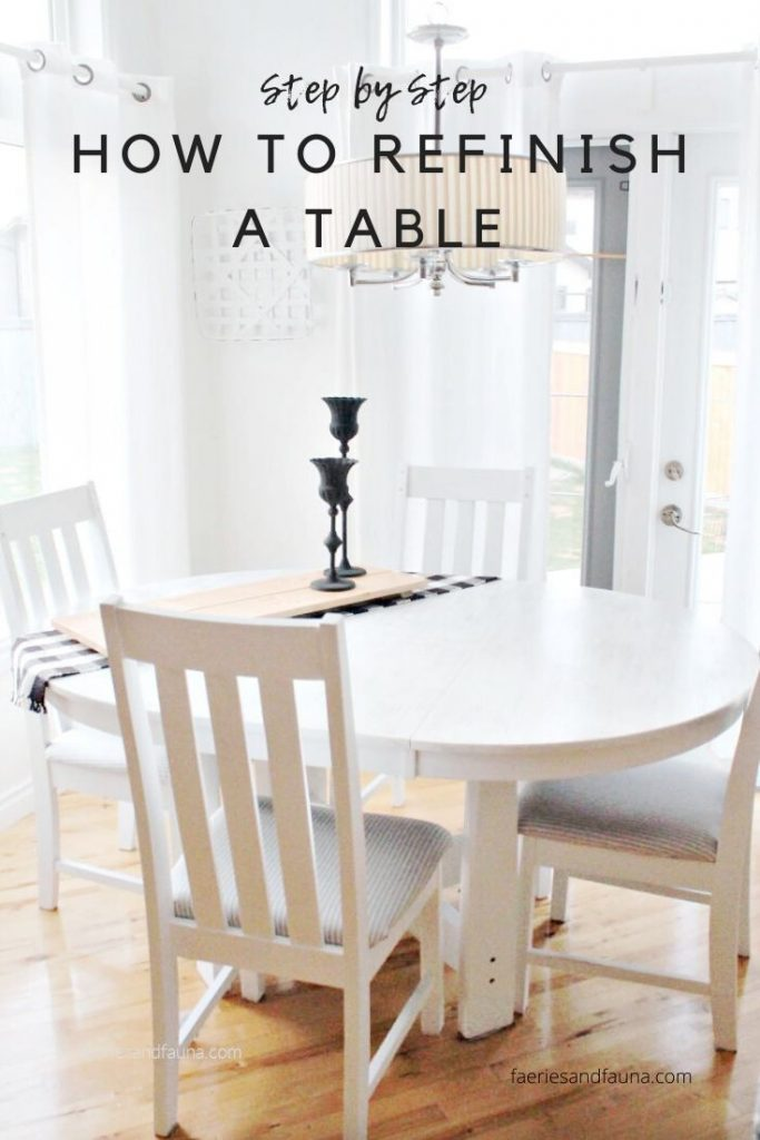 A step by step tutorial on refinishing a table and chairs in white for a farmhouse look.