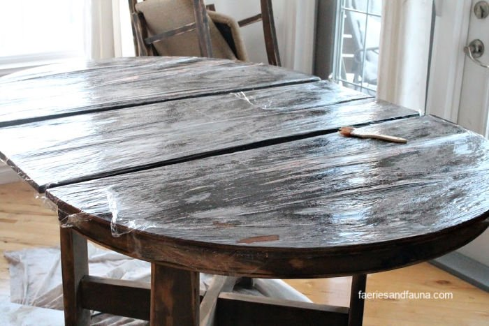 Tutorial on refinishing a kitchen table, beginning with stripping.