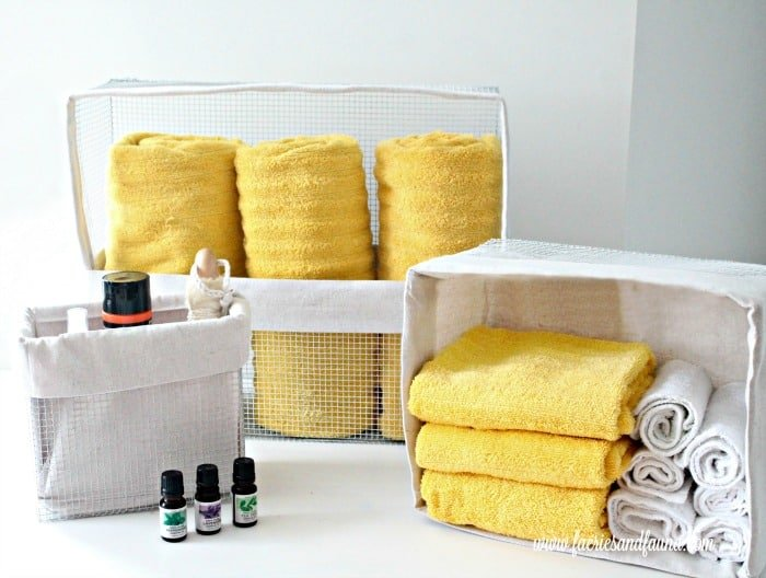 DIY custom basket liners made using drop cloth.