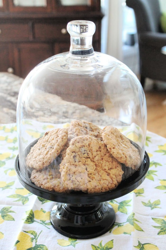 Classic oatmeal raisin cookies being served.