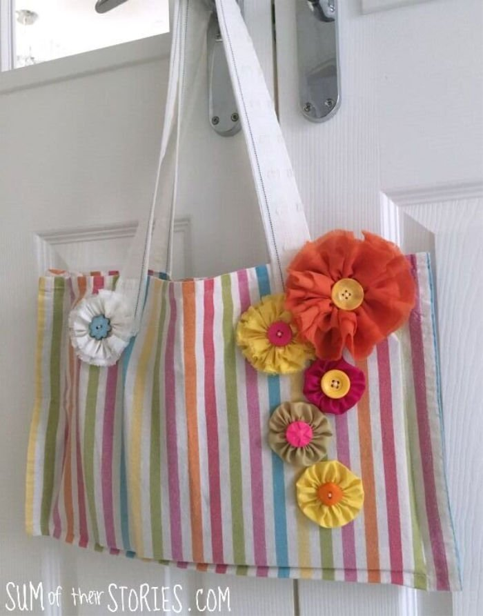 An Upcycled Tea Towel Book Bag with Extra Pockets