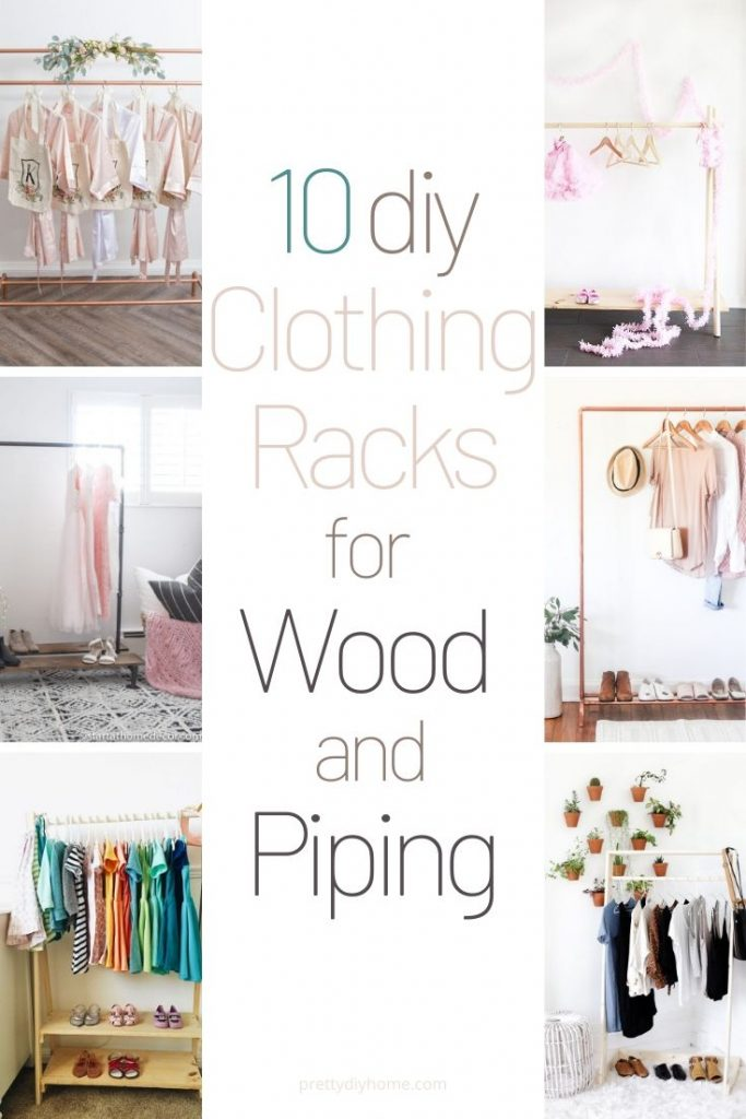 10 DIY clothing rack ideas made with wood and piping